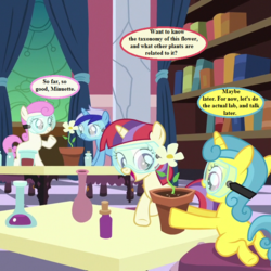 Size: 720x720 | Tagged: book, celestial advice, cropped, dialogue, edit, edited screencap, female, filly, filly lemon hearts, filly minuette, filly moondancer, filly twinkleshine, flower, goggles, lemon hearts, minuette, moondancer, princess celestia's school for gifted unicorns, safe, screencap, speech bubble, twinkleshine, younger