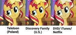 Size: 3412x1573 | Tagged: safe, edit, edited screencap, screencap, sunset shimmer, pony, unicorn, equestria girls, mirror magic, spoiler:eqg specials, bag, bust, comparison, cropped, female, looking up, mare, saddle bag, smiling, solo, you had one job