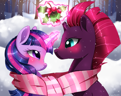 Size: 1498x1187 | Tagged: artist:beanbunn, blushing, broken horn, clothes, female, holly, holly mistaken for mistletoe, lesbian, looking at each other, mare, pony, safe, scar, shared clothing, shipping, snow, tempestlight, tempest shadow, twilight sparkle, unicorn, winter