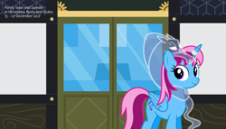 Size: 11200x6400 | Tagged: safe, artist:parclytaxel, oc, oc only, oc:parcly taxel, oc:spindle, alicorn, pony, windigo, ain't never had friends like us, albumin flask, parcly taxel in japan, .svg available, absurd resolution, alicorn oc, clothes, door, female, horn ring, japan, living object, looking at you, mare, parcly's travel covers, scarf, smiling, vector, windigo oc