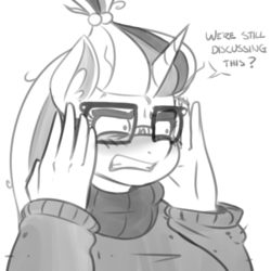 Size: 500x500 | Tagged: dead source, safe, artist:reiduran, moondancer, unicorn, anthro, fanfic:universal acceptance, bust, clothes, dialogue, ear fluff, female, glasses, grayscale, gritted teeth, mare, monochrome, reaction image, simple background, sketch, solo, sweater, white background