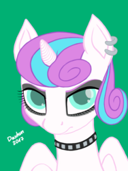Size: 1536x2048 | Tagged: alicorn, artist:doxhun, bust, choker, colored, colored pupils, cute, digital art, ear piercing, earring, eyelashes, female, flurrybetes, goth, gothic, horn, jewelry, looking at you, makeup, piercing, pony, portrait, princess emo heart, princess flurry heart, safe, simple background, solo, teenager, wings