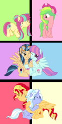 Size: 3000x6000 | Tagged: safe, artist:luckyclau, indigo zap, lemon zest, sour sweet, sugarcoat, sunny flare, sunset shimmer, alicorn, earth pony, pegasus, pony, unicorn, alicornified, equestria girls ponified, female, mare, ponified, race swap, shadow five, shimmercorn