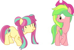 Size: 1926x1312 | Tagged: safe, artist:luckyclau, lemon zest, sour sweet, earth pony, pony, alternate hairstyle, equestria girls ponified, eyes closed, female, hat, mare, ponified, simple background, transparent background, vector