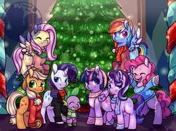 Size: 2013x1508 | Tagged: alicorn, applejack, artist:cloureed, clothes, earth pony, female, fluttershy, hearts warming day, male, mane eight, mane seven, mane six, mare, obtrusive watermark, pegasus, pinkie pie, rainbow dash, rarity, redraw, safe, spike, starlight glimmer, tree, twilight sparkle, twilight sparkle (alicorn), unicorn