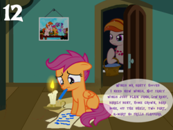 Size: 1024x768 | Tagged: safe, artist:bronybyexception, artist:kiniestlimit, artist:kuren247, artist:misteraibo, artist:mpnoir, artist:pixelkitties, artist:vulthuryol00, aunt holiday, auntie lofty, scootaloo, pony, a wish for wings that work, advent calendar, artist interpretation, candle, crying, doubt, feels, female, filly, flying, letter to santa, mare, sad, santa claus, santa hooves, scootaloo can't fly, writing