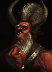 Size: 1453x2000 | Tagged: safe, artist:bra1neater, lord tirek, bust, crown, fine art emulation, jewelry, male, nose piercing, nose ring, painting, piercing, portrait, regalia, solo