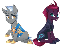 Size: 1000x752 | Tagged: artist:higgly-chan, broken horn, female, male, mare, my little pony: the movie, oc, oc:scope, pony, royal guard, safe, scar, simple background, stallion, tempest shadow, transparent background, unicorn