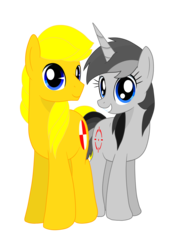 Size: 2480x3507 | Tagged: safe, artist:truffle shine, artist:twidasher, derpibooru exclusive, oc, oc only, oc:carbine kiasu, oc:truffle shine, pony, unicorn, 2018 community collab, derpibooru community collaboration, duo, female, grin, horn, looking at you, male, side by side, simple background, smiling, transparent background