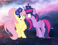 Size: 1024x788 | Tagged: alicorn, artist:emilisweetie1, blushing, boop, crown, female, fluttershy, jewelry, lesbian, noseboop, nose wrinkle, pony, regalia, safe, shipping, twilight sparkle, twilight sparkle (alicorn), twishy