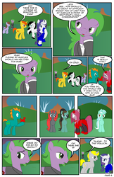Size: 792x1224 | Tagged: safe, artist:dekomaru, lyra heartstrings, pinkie pie, rarity, spike, oc, pony, comic:the greatest gift, balloon, balloon animal, clothes, comic, dress, fourth wall, pinkamena diane pie, ponified, ponified spike, suit