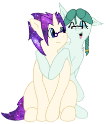 Size: 1550x1737 | Tagged: 2018 community collab, artist:phonicb∞m, bat pony, braid, derpibooru community collaboration, ethereal mane, galaxy mane, glasses, looking at you, oc, oc:cosmic latte, oc:mercy leaf, oc only, one eye closed, safe, simple background, smiling, transparent background, unicorn, wink