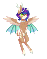 Size: 2269x2816 | Tagged: antlers, artist:ohhoneybee, bat wings, cloven hooves, female, high res, mare, multiple wings, oc, oc only, oc:sweet galaxy, one eye closed, original species, reindeer antlers, safe, seraph, simple background, solo, transparent background, wink