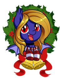 Size: 1000x1274 | Tagged: adorable face, artist:xwhitedreamsx, bat pony, bat pony oc, bell, bust, christmas, christmas wreath, clothes, collar, commission, cute, female, hearth's warming, holiday, looking at you, mare, oc, oc:butter cream, oc only, portrait, safe, simple background, smiling, socks, solo, stockings, striped socks, transparent background, wings, wreath, ych result