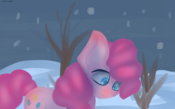 Size: 1680x1050 | Tagged: artist:generallegion, colored pupils, earth pony, pinkie pie, pony, safe, snow, solo, winter