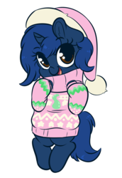 Size: 3050x4445 | Tagged: safe, artist:wickedsilly, oc, oc only, oc:starlight blossom, pony, unicorn, bipedal, christmas, clothes, cute, female, filly, hat, holiday, santa hat, simple background, sweater, transparent background
