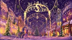 Size: 1636x921   Tagged: safe, artist:plainoasis, princess luna, twilight sparkle, alicorn, pony, unicorn, christmas, christmas tree, female, hearth's warming eve, holiday, male, mare, night, scenery, scenery porn, snow, snowfall, stallion, tree, twilight sparkle (alicorn)