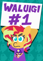 Size: 738x1032 | Tagged: safe, artist:threetwotwo32232, sunset shimmer, unicorn, cigar, clothes, female, mare, shirt, sign, solo, t-shirt, truth, waluigi