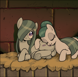 Size: 1575x1571 | Tagged: safe, artist:pencils, cloudy quartz, marble pie, earth pony, pony, comic:anon's pie adventure, blanket, butt, butt pillow, comic, cropped, duo, eyes closed, female, frog (hoof), hair bun, hair over one eye, marblebutt, mare, mother and daughter, plot, sleeping, squishy, underhoof