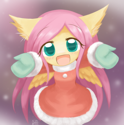 Size: 1200x1214 | Tagged: anthro, artist:howxu, clothes, coat, cute, :d, dress, female, fluttershy, gloves, happy, hnnng, howxu is trying to murder us, looking at you, open mouth, pegasus, safe, shyabetes, smiling, solo, weapons-grade cute