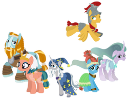 Size: 1764x1400 | Tagged: alternate universe, artist:janethepegasus, flash magnus, meadowbrook, mistmane, rockhoof, safe, somnambula, star swirl the bearded