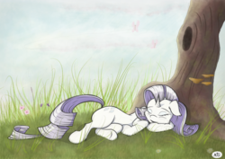 Size: 3000x2121 | Tagged: artist:maneingreen, female, floppy ears, grass, mare, nature, peaceful, pony, rarity, safe, sleeping, solo, tree, unicorn