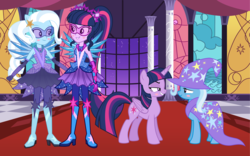 Size: 3744x2336 | Tagged: alicorn, alternate universe, artist:greenmachine987, artist:mixiepie, artist:pink1ejack, artist:themexicanpunisher, artist:wild-hearts, blushing, canterlot, cape, clothes, equestria girls, female, hat, legend of everfree, lesbian, safe, sci-twi, shipping, trixie, trixie's cape, trixie's hat, twilight sparkle, twilight sparkle (alicorn), twixie