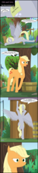 Size: 1024x4588 | Tagged: anatomically incorrect, applejack, artist:toxic-mario, barn, barrel, comic, cutie mark, derpy hooves, dialogue, female, flag, flag pole, incorrect leg anatomy, pony, safe, signature, speech bubble, stretching, sweet apple acres, tree