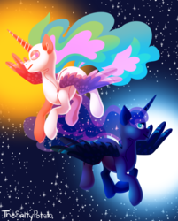 Size: 747x930 | Tagged: safe, artist:thesaltypotato, princess celestia, princess luna, alicorn, pony, duo, female, mare, royal sisters, stars, the cosmos