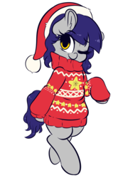 Size: 3008x4336 | Tagged: safe, artist:wickedsilly, oc, oc only, oc:fruity blossom, earth pony, pony, bipedal, christmas, clothes, cute, hat, holiday, santa hat, simple background, sweater, transparent background