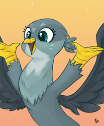Size: 682x822 | Tagged: safe, artist:ehfa, gabby, griffon, cute, female, gradient background, happy, raised arm, smiling, solo
