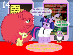 Size: 1024x768   Tagged: safe, artist:bronybyexception, apple bloom, big macintosh, granny smith, spike, twilight sparkle, cat, dragon, pony, porg, spoiler:star wars, advent calendar, blank flank, chewbacca, clothes, costume, crazy cat lady, dialogue, female, filly, fluffy, foal, hair bun, male, mare, princess leia, quartet, rey, rick and morty, show accurate, speech bubble, stallion, star wars, star wars: the last jedi