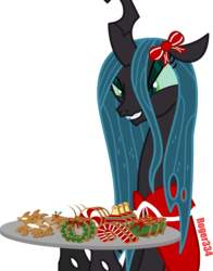 Size: 4613x5869   Tagged: safe, artist:roger334, queen chrysalis, absurd resolution, christmas, cookie, female, food, holiday, mare, simple background, solo, transparent background, vector, winter
