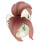 Size: 2000x2000 | Tagged: artist:creativechibigraphics, bust, ear piercing, earring, female, freckles, jewelry, looking at you, mare, oc, oc only, one eye closed, piercing, pony, ponytail, portrait, safe, simple background, smiling, solo, source needed, sticker, transparent background, wink