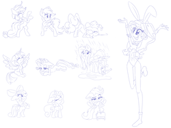Size: 1500x1125 | Tagged: apple bloom, applejack, armpits, artist:discorded, bunny ears, bunny suit, clothes, cutie mark crusaders, equestria girls, female, filly, fluttershy, lineart, mane six, mare, monochrome, pinkie pie, pony, rainbow dash, rarity, safe, scootaloo, simple background, sketch, sunset shimmer, sweetie belle, twilight sparkle, white background
