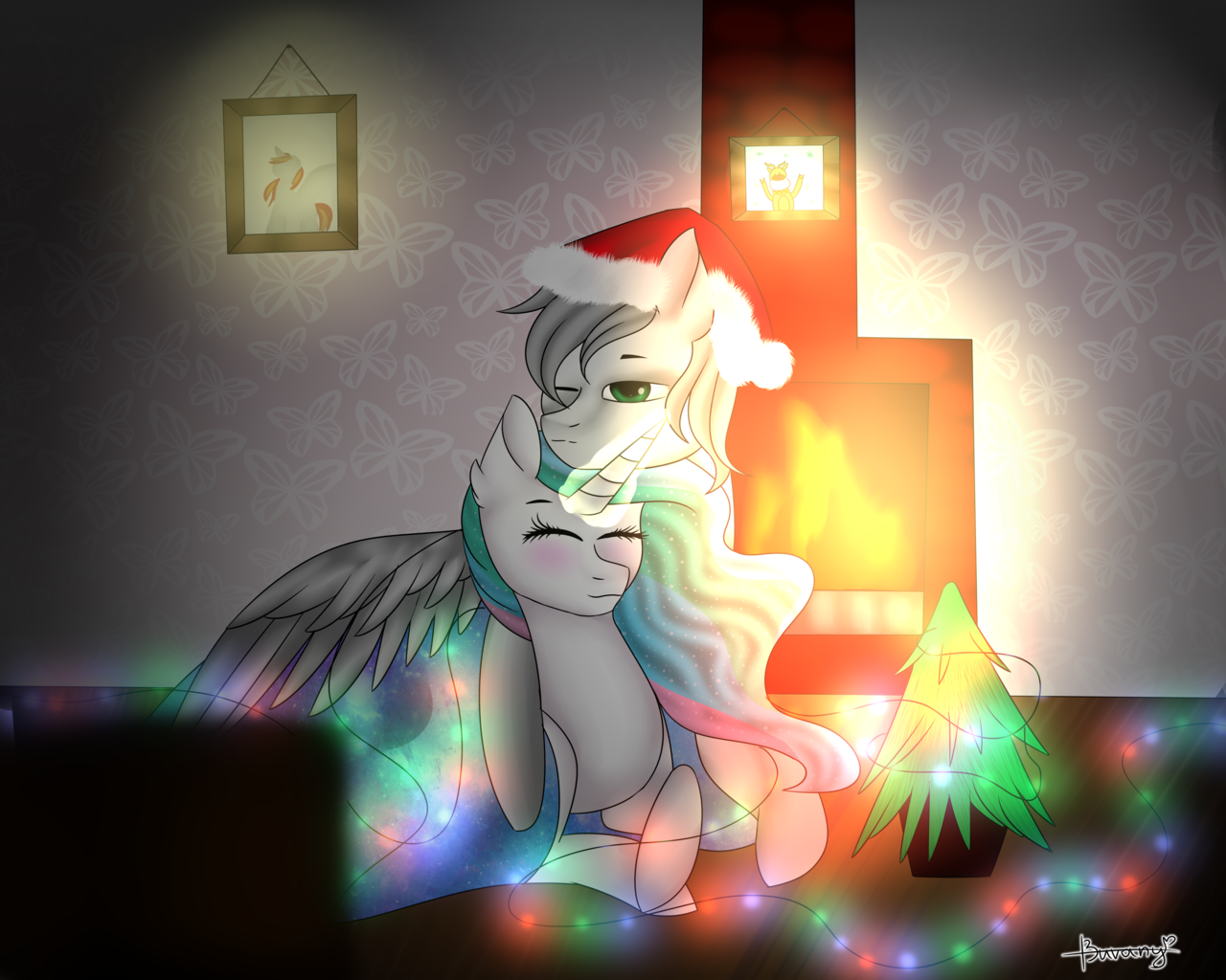 1608545 artist needed blanket christmas christmas lights christmas tree cuddling eyes closed fireplace glowing horn hat holiday oc