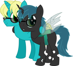 Size: 7122x6432 | Tagged: safe, artist:cyanlightning, oc, oc only, oc:jb, oc:jinjo bytes, oc:stratamax, changeling, unicorn, 2018 community collab, derpibooru community collaboration, .svg available, absurd resolution, changeling oc, duo, glasses, looking at you, male, simple background, stallion, transparent background, vector