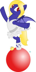 Size: 1623x3227 | Tagged: safe, artist:arifproject, oc, oc only, oc:butter cream, bat pony, pony, balancing, ballerina, bat pony oc, christmas ornament, clothes, decoration, female, mare, signature, simple background, slit eyes, solo, standing, standing on one leg, transparent background, vector