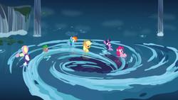 Size: 2560x1440   Tagged: safe, artist:dashiemlpfim, screencap, applejack, fluttershy, pinkie pie, rainbow dash, rarity, spike, twilight sparkle, alicorn, dragon, earth pony, pegasus, pony, unicorn, my little pony: the movie, female, mane seven, mane six, mare, twilight sparkle (alicorn), vector, water, whirlpool