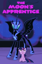 Size: 682x1024   Tagged: safe, artist:lafiir, nightmare moon, twilight sparkle, fanfic:the moon's apprentice, fanfic, fanfic art, fanfic cover