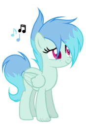 Size: 505x721 | Tagged: safe, artist:marielle5breda, oc, oc only, oc:weather storm, pegasus, pony, female, mare, music notes, simple background, solo, transparent background