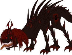 Size: 9168x6987   Tagged: safe, artist:frownfactory, oc, oc only, oc:marksaline, alicorn, .svg available, absurd resolution, alicorn oc, angry, body horror, claws, eldritch abomination, fangs, female, horn, monster, nightmare fuel, red eyes, sharp teeth, simple background, solo, svg, teeth, tongue out, transparent background, vector, wings