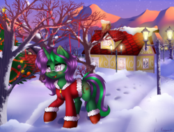 Size: 2500x1900 | Tagged: safe, artist:kruszyna25, oc, oc only, oc:buggy code, unicorn, blushing, christmas, christmas tree, clothes, digital art, evening, female, glasses, happy, holiday, houses, lantern, lights, mare, moon, mountain, snow, stars, sunset, tree, walking, winter, ych result