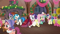Size: 1920x1080 | Tagged: a hearth's warming tail, bon bon, bonnet, bonnie rose, christmas wreath, clothes, dj pon-3, dress, earth pony, female, fire, flutterholly, fluttershy, hat, lyra heartstrings, mare, merry, octavia melody, pegasus, pony, rarity, safe, screencap, sweetie drops, table, unicorn, victrola scratch, vinyl scratch, wreath