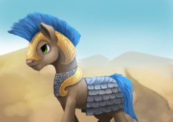 Size: 1024x724 | Tagged: armor, artist:xormak, chainmail, desert, earth pony, male, oc, oc only, pony, royal guard, safe, scenery, solo, stallion, walking