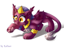 Size: 1080x820   Tagged: safe, artist:kaliner123, sphinx (character), sphinx, daring done?, ear piercing, female, paws, piercing, simple background, solo, transparent background, underpaw