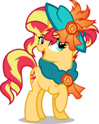 Size: 4000x5010 | Tagged: absurd res, alternate universe, artist:orin331, dancerverse, female, hat, mare, pony, raised hoof, safe, simple background, smiling, solo, sunset shimmer, transparent background