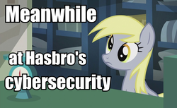 Size: 834x512 | Tagged: safe, edit, edited screencap, screencap, derpy hooves, pegasus, pony, slice of life (episode), drama, everything is ruined, female, image macro, mare, meanwhile, meanwhile at hasbro hq, meme, meta, metaphor, solo