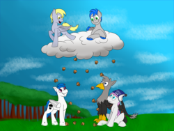 Size: 4000x3000 | Tagged: artist:recordmelodie, bat pony, cloud, derpy hooves, food, griffon, hat, muffin, muffin rain, oc, oc:black lights, oc:kami, oc:record melodie, pegasus, pony, safe, sitting, smiling, standing