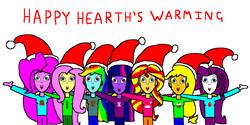 Size: 1900x950   Tagged: safe, artist:samueljcollins1990, applejack, fluttershy, pinkie pie, rainbow dash, rarity, sunset shimmer, twilight sparkle, equestria girls, christmas, happy hearth's warming, hat, hearth's warming, holiday, humane five, humane seven, humane six, jumper, mane seven, mane six, merry christmas, santa hat